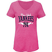 Gen2 Youth Girls' New York Yankees Pink Tri-Blend V-Neck T-Shirt