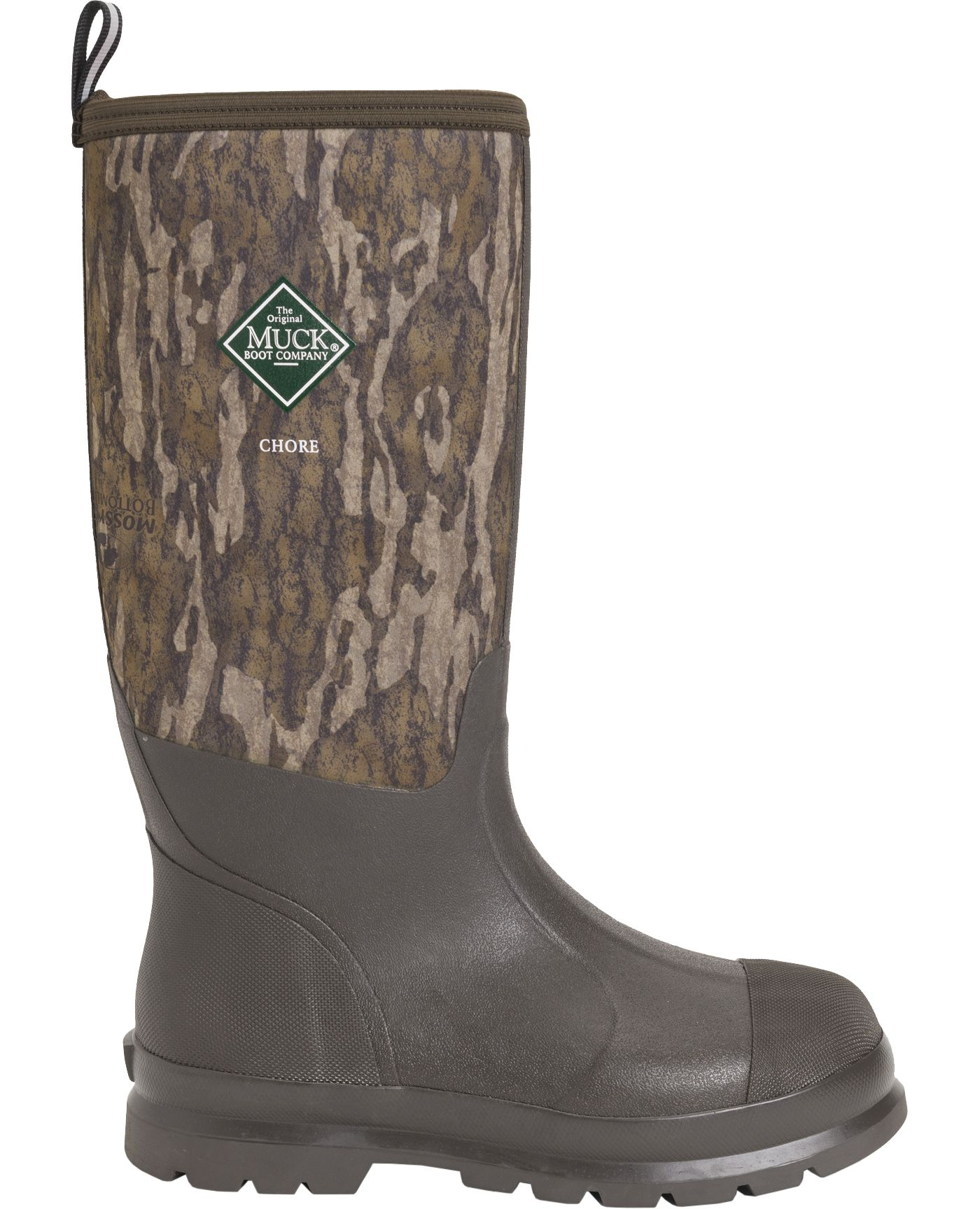 Muck Boots Men's Chore Hi Classic Mossy Oak Bottomland Rubber Hunting Boots