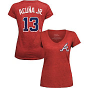 Majestic Threads Women's Atlanta Braves Ronald Acuna #13 Red V-Neck T-Shirt