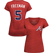 Majestic Threads Women's Atlanta Braves Freddie Freeman #5 Red V-Neck T-Shirt