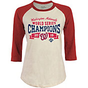 Majestic Threads Women's 2019 World Series Champions Washington Nationals Raglan Three-Quarter Sleeve Shirt