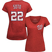 Majestic Threads Women's Washington Nationals Juan Soto V-Neck T-Shirt