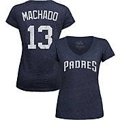 Majestic Threads Women's San Diego Padres Manny Machado V-Neck T-Shirt