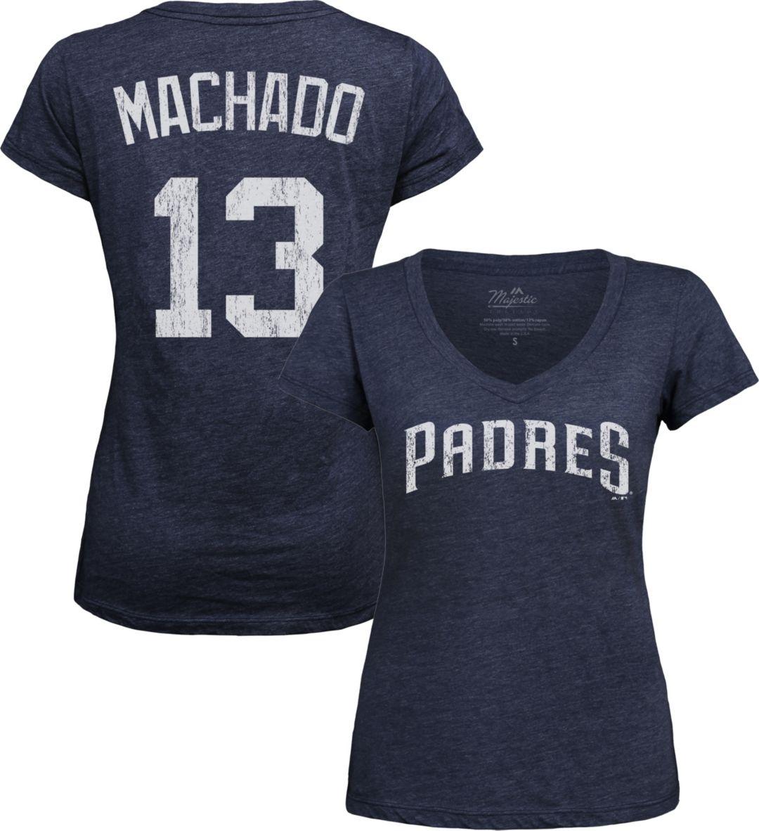 huge discount 3dbcf 8849b Majestic Threads Women's San Diego Padres Manny Machado V-Neck T-Shirt
