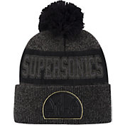 Mitchell & Ness Men's Seattle SuperSonics Grey Pom Cuffed Knit Beanie