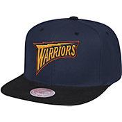 Mitchell & Ness Men's Golden State Warriors Wool 2-Tone Wordmark Adjustable Snapback Hat