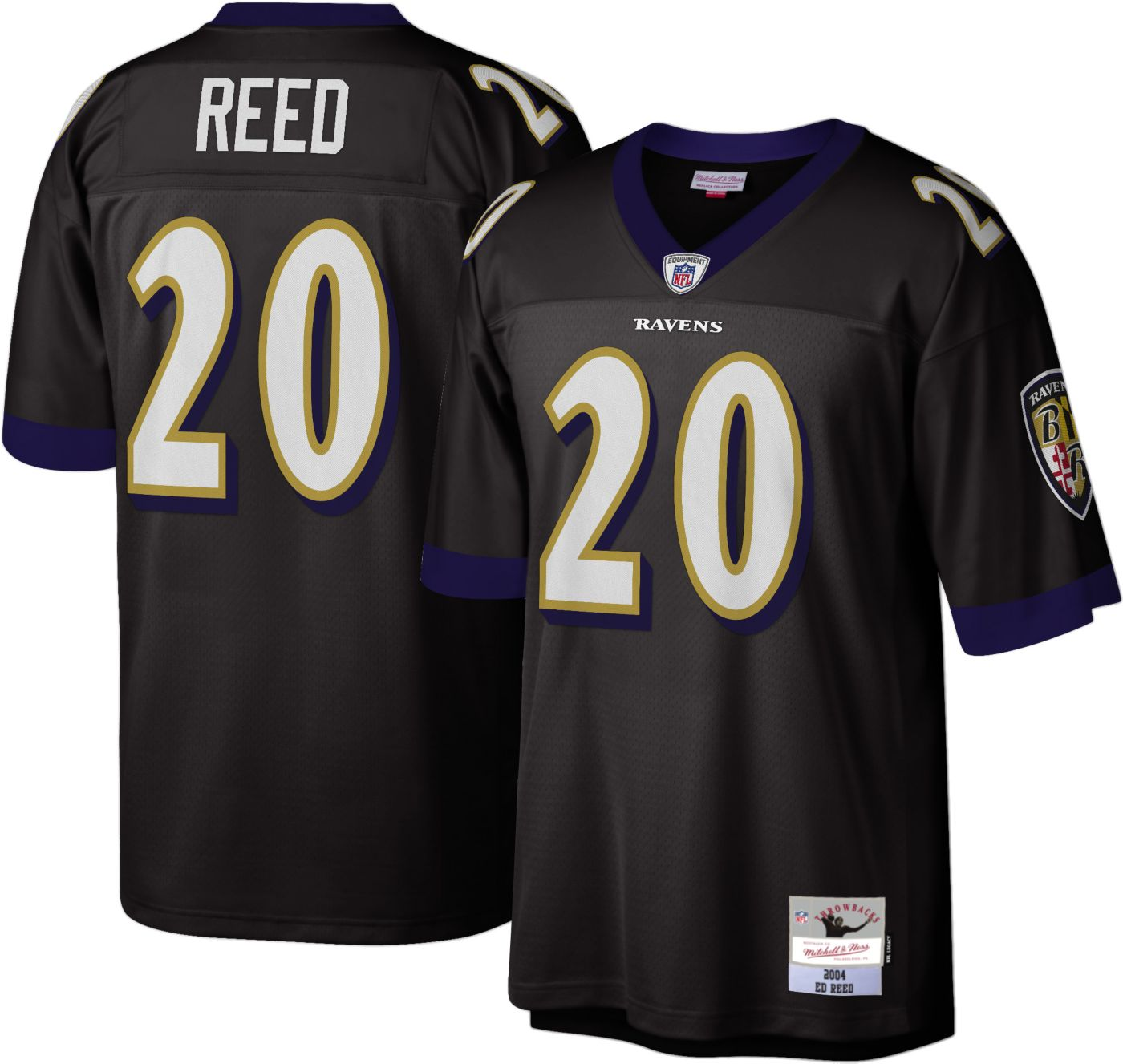 Mitchell & Ness Men's 2004 Home Game Jersey Baltimore Ravens Ed Reed #20