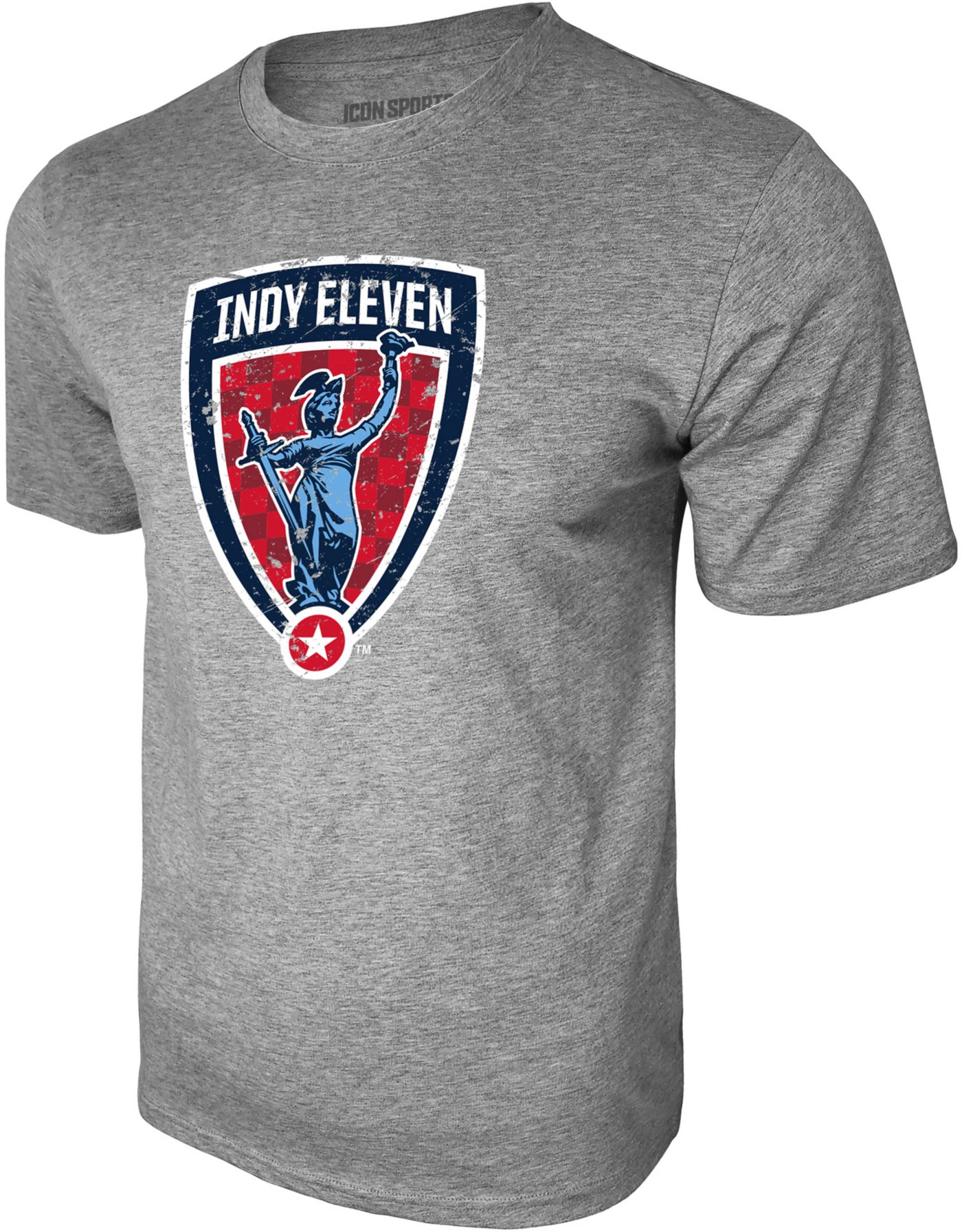 Icon Sports Group Men's Indy Eleven Logo Heather Grey T-Shirt