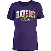 New Era Youth Girls' Baltimore Ravens Purple Flip Sequins T-Shirt
