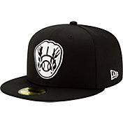 New Era Men's Milwaukee Brewers 59Fifty Black Batting Practice Fitted Hat