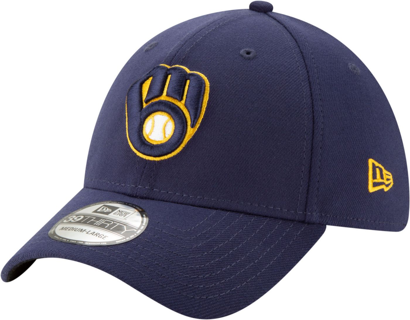 New Era Men's Milwaukee Brewers Navy 39Thirty Stretch Fit Hat