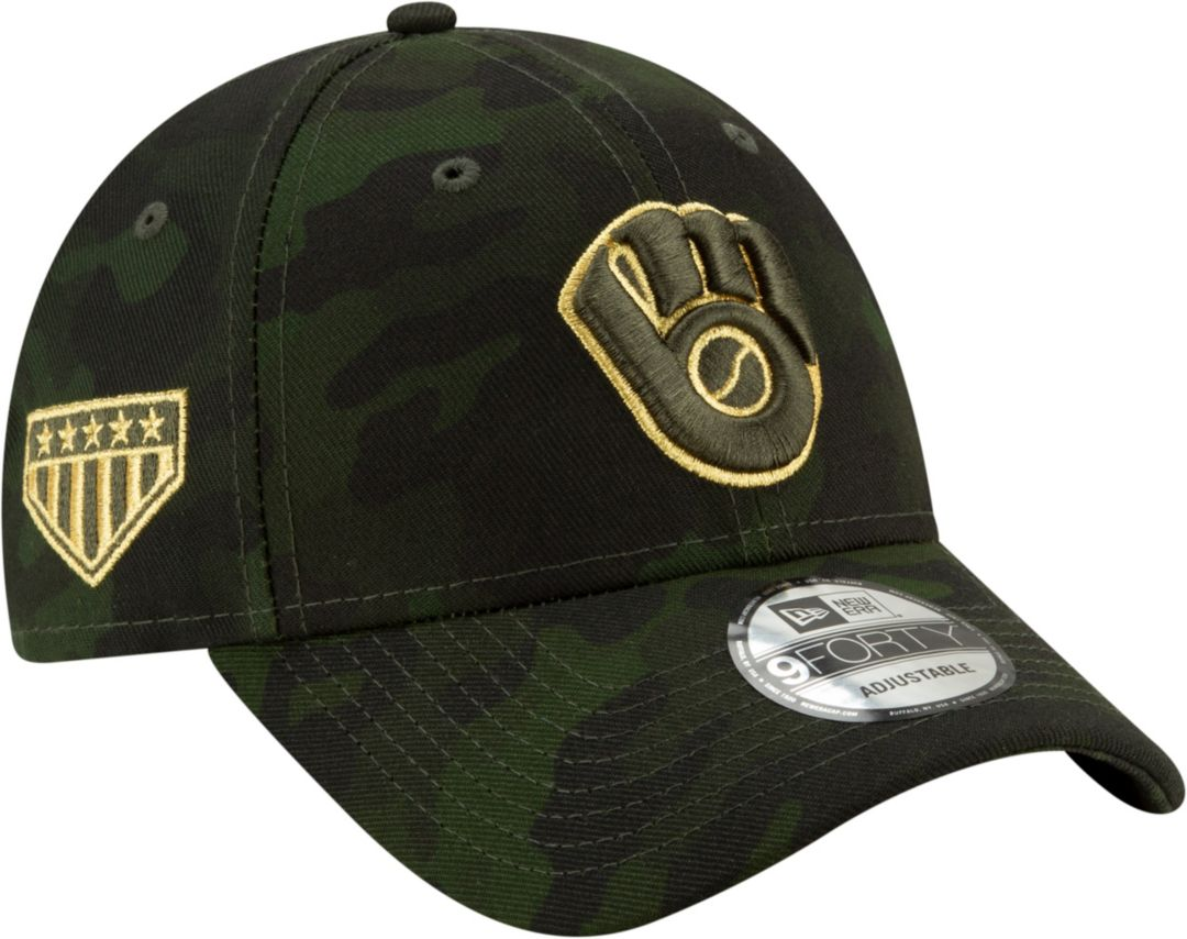 b01a2a59c New Era Men's Milwaukee Brewers 9Forty Armed Forces Adjustable Hat