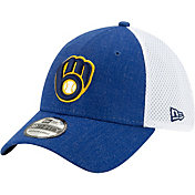 New Era Men's Milwaukee Brewers Blue 39Thirty Heather Neo Stretch Fit Hat