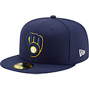 New Era Men's Milwaukee Brewers Navy 59Fifty Authentic Hat