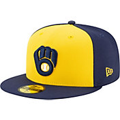 New Era Men's Milwaukee Brewers Yellow 59Fifty Authentic Hat