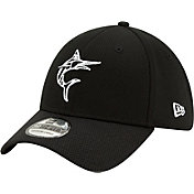 New Era Men's Miami Marlins 39Thirty Black Batting Practice Stretch Fit Hat