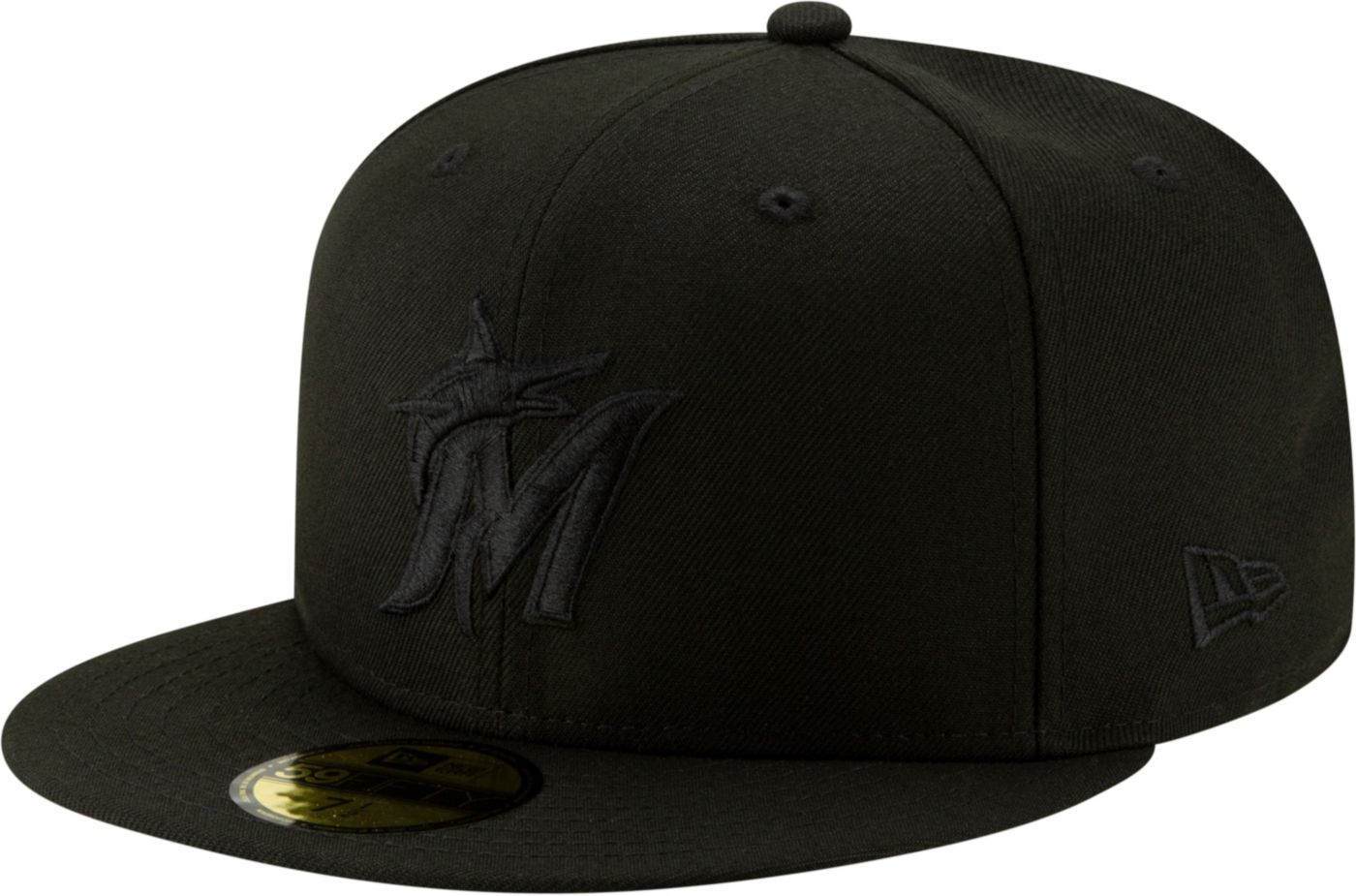 New Era Men's Miami Marlins 59Fifty Black Fitted Hat
