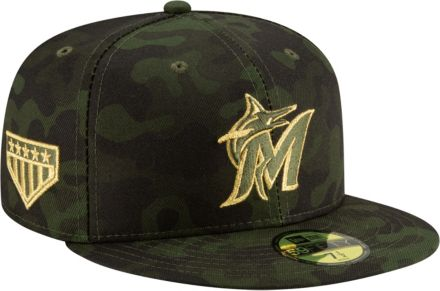 big sale 10a14 821b6 New Era Men  39 s Miami Marlins 59Fifty Armed Forces Fitted Hat