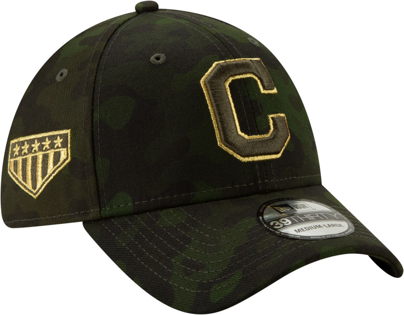New Era Men's Cleveland Indians 39Thirty Armed Forces Stretch Fit Hat
