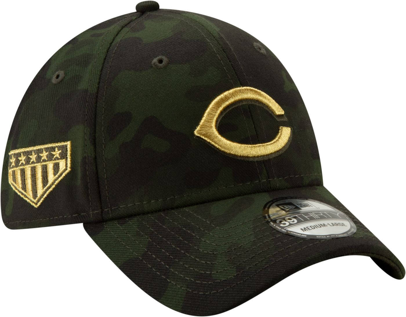 New Era Men's Cincinnati Reds 39Thirty Armed Forces Stretch Fit Hat