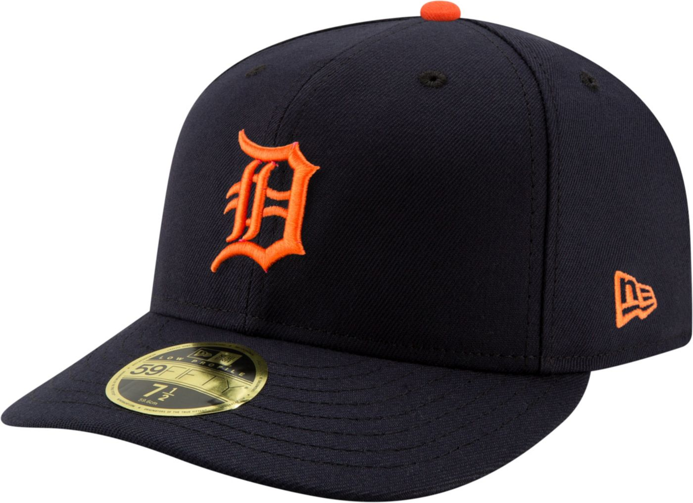 New Era Men's Detroit Tigers 59Fifty Road Navy Low Crown Fitted Hat