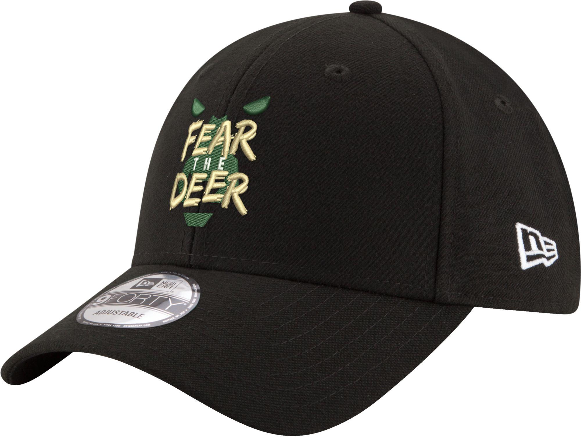 "New Era Men's Milwaukee Bucks 9Forty ""Fear The Deer"" Black Adjustable Hat"