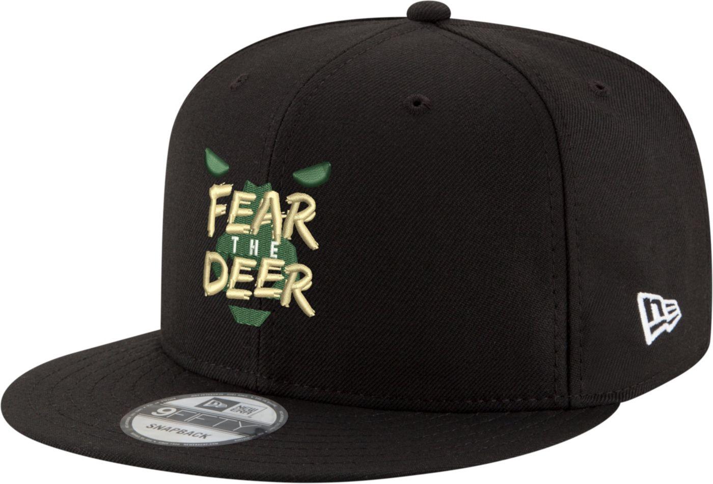 "New Era Men's Milwaukee Bucks 9Fifty ""Fear The Deer"" Black Adjustable Snapback Hat"