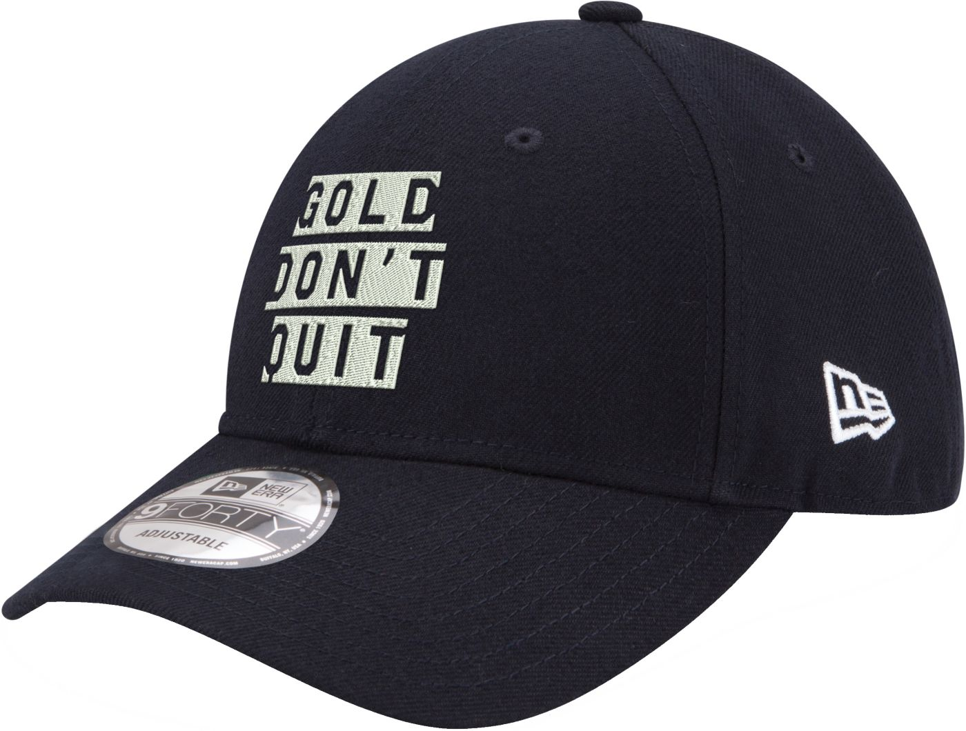 """New Era Men's Indiana Pacers 9Forty """"Gold Don't Quit"""" Navy Adjustable Hat"""