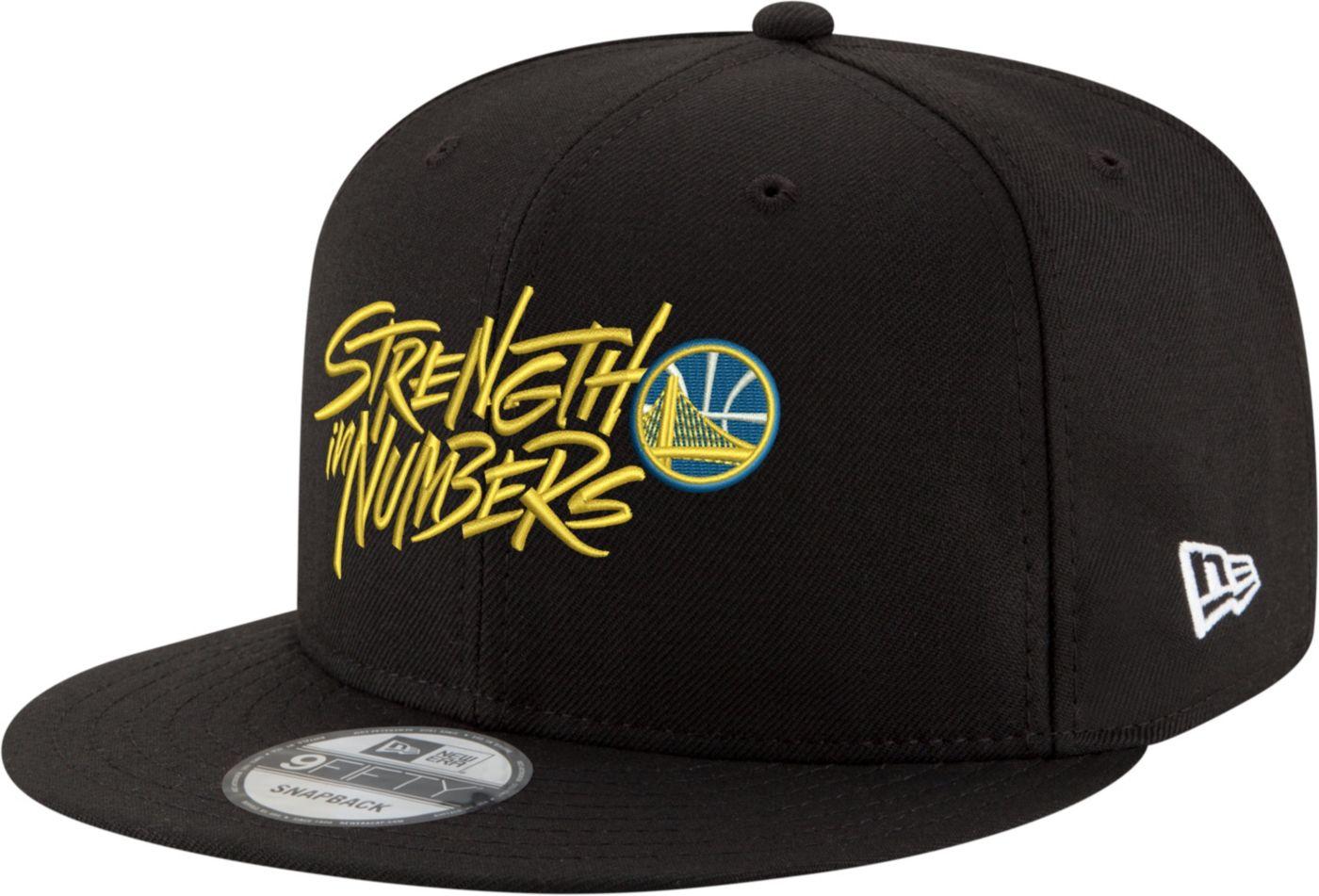 "New Era Men's Golden State Warriors 9Fifty ""Strength In Numbers"" Black Adjustable Snapback Hat"