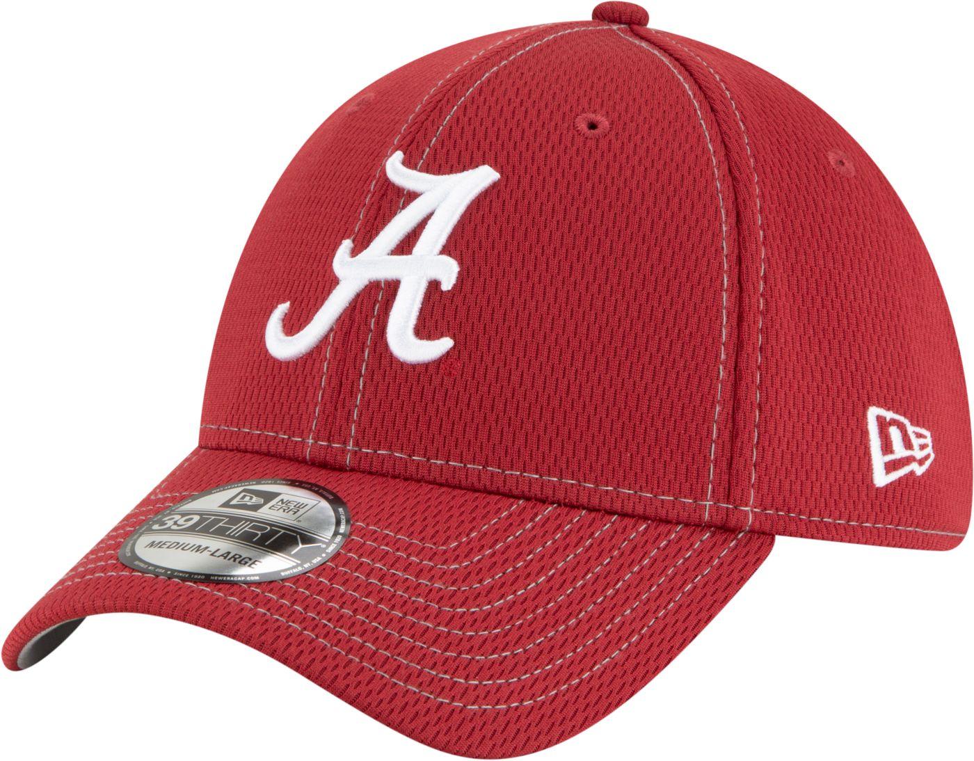 New Era Men's Alabama Crimson Tide Crimson Sideline Road 39Thirty Stretch Fit Hat