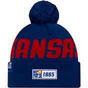 New Era Men's Kansas Jayhawks Blue Sideline Road Cuffed Knit Beanie
