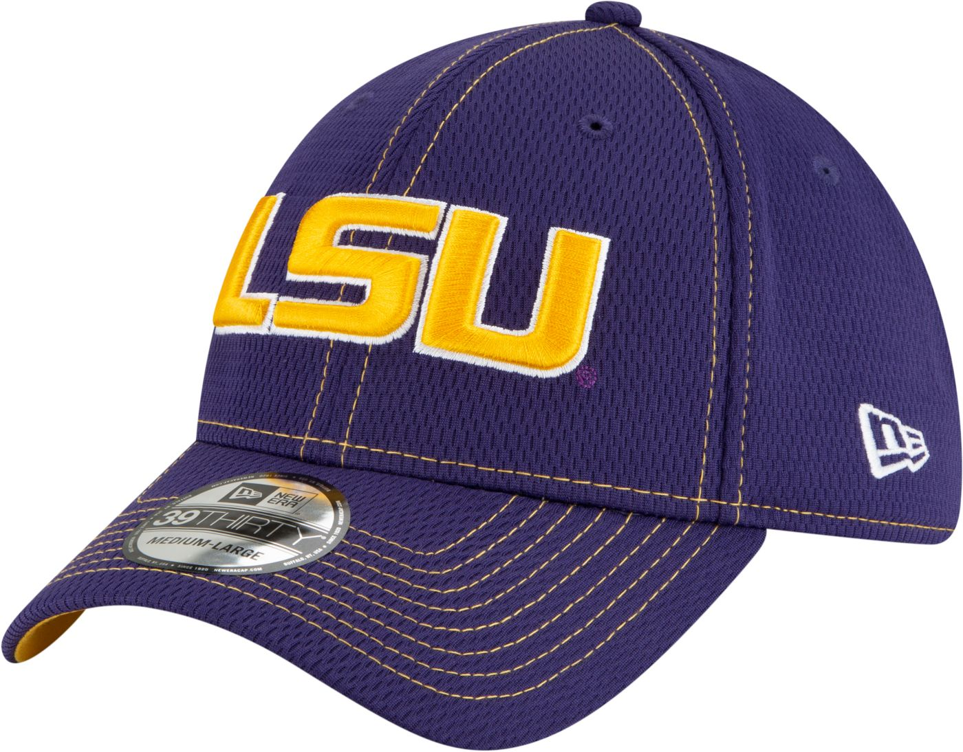 New Era Men's LSU Tigers Purple Sideline Road 39Thirty Stretch Fit Hat