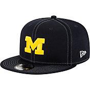 New Era Men's Michigan Wolverines Blue Sideline Road 9Fifty Adjustable Snapback Hat