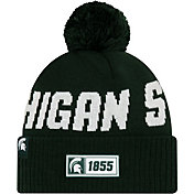 New Era Men's Michigan State Spartans Green Sideline Road Cuffed Knit Beanie