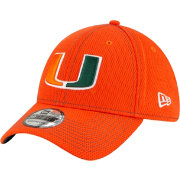 New Era Men's Miami Hurricanes Green Sideline Road 39Thirty Stretch Fit Hat