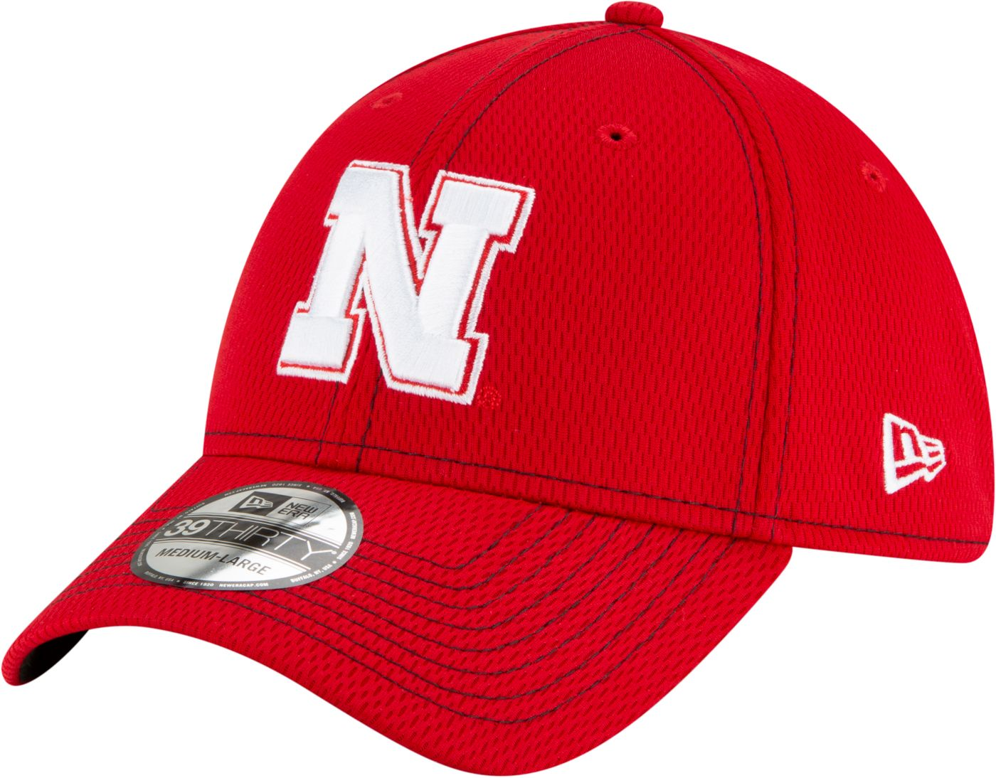 New Era Men's Nebraska Cornhuskers Scarlet Sideline Road 39Thirty Stretch Fit Hat