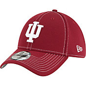 New Era Men's Indiana Hoosiers Crimson Sideline Road 39Thirty Stretch Fit Hat