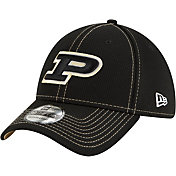 New Era Men's Purdue Boilermakers Sideline Road 39Thirty Stretch Fit Black Hat