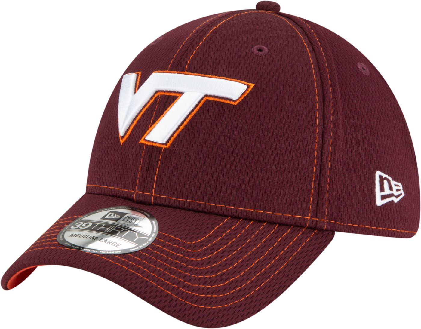 New Era Men's Virginia Tech Hokies Maroon Sideline Road 39Thirty Stretch Fit Hat