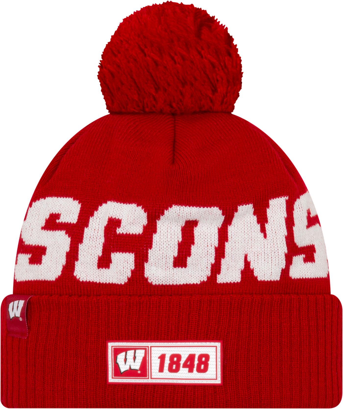 New Era Men's Wisconsin Badgers Red Sideline Road Cuffed Knit Beanie