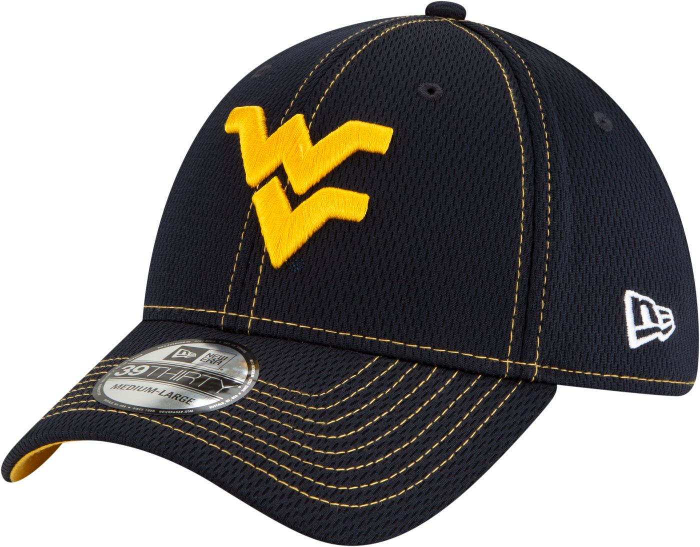 New Era Men's West Virginia Mountaineers Blue Sideline Road 39Thirty Stretch Fit Hat