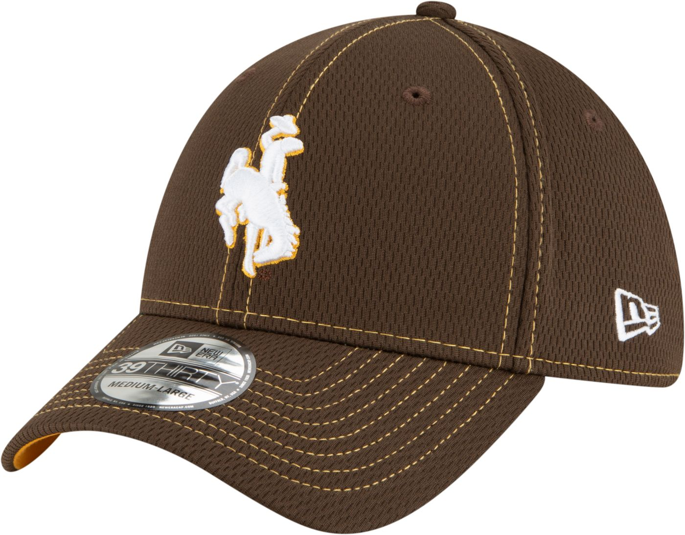 New Era Men's Wyoming Cowboys Brown Sideline Road 39Thirty Stretch Fit Hat