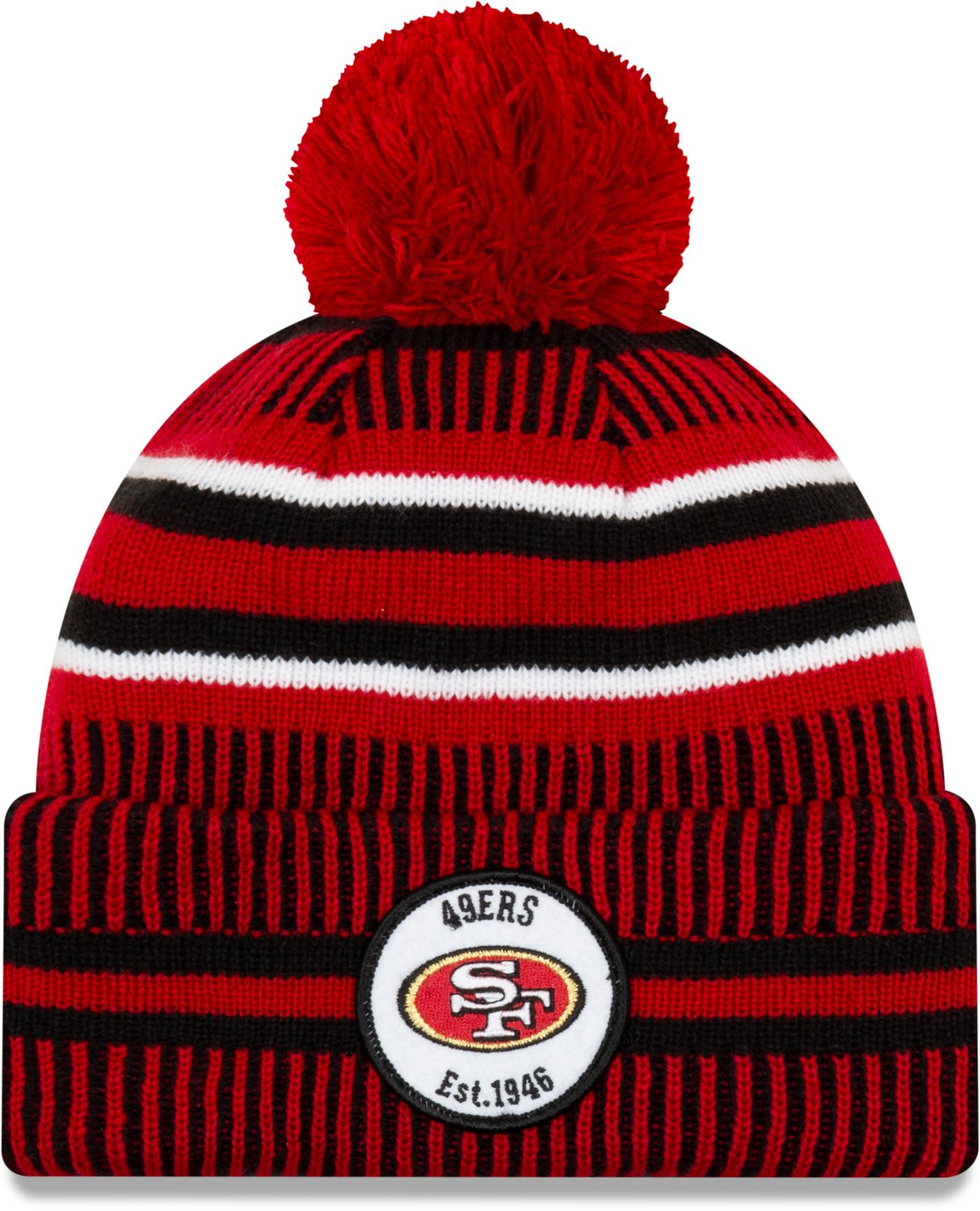 New Era Men's San Francisco 49ers Sideline Home Sport Pom Knit