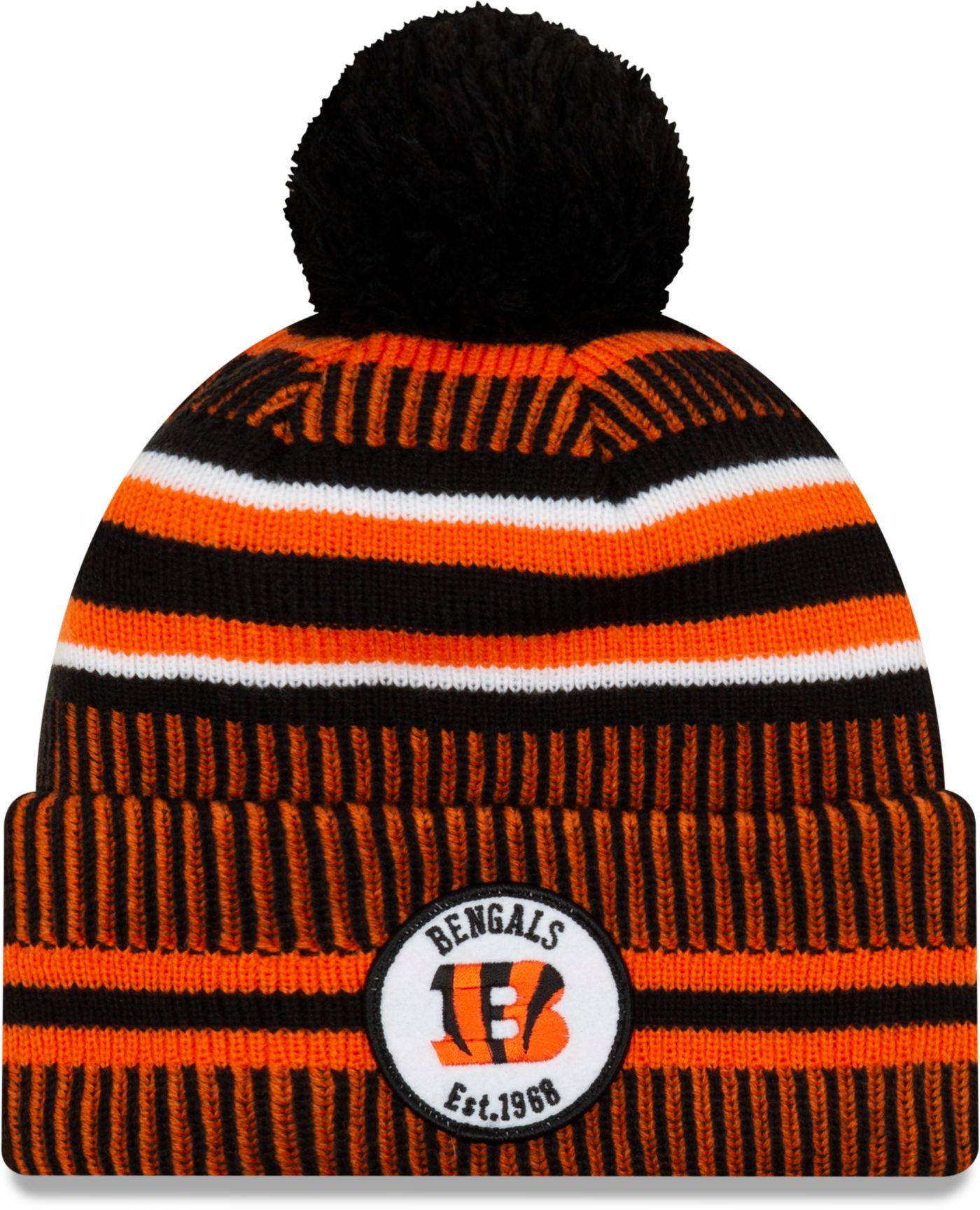 New Era Men's Cincinnati Bengals Sideline Home Sport Pom Knit
