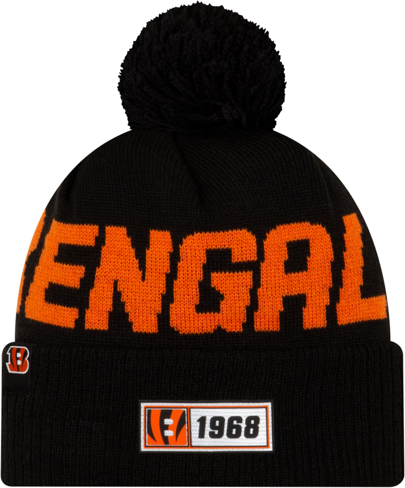 New Era Men's Cincinnati Bengals Sideline Road Sport Pom Knit