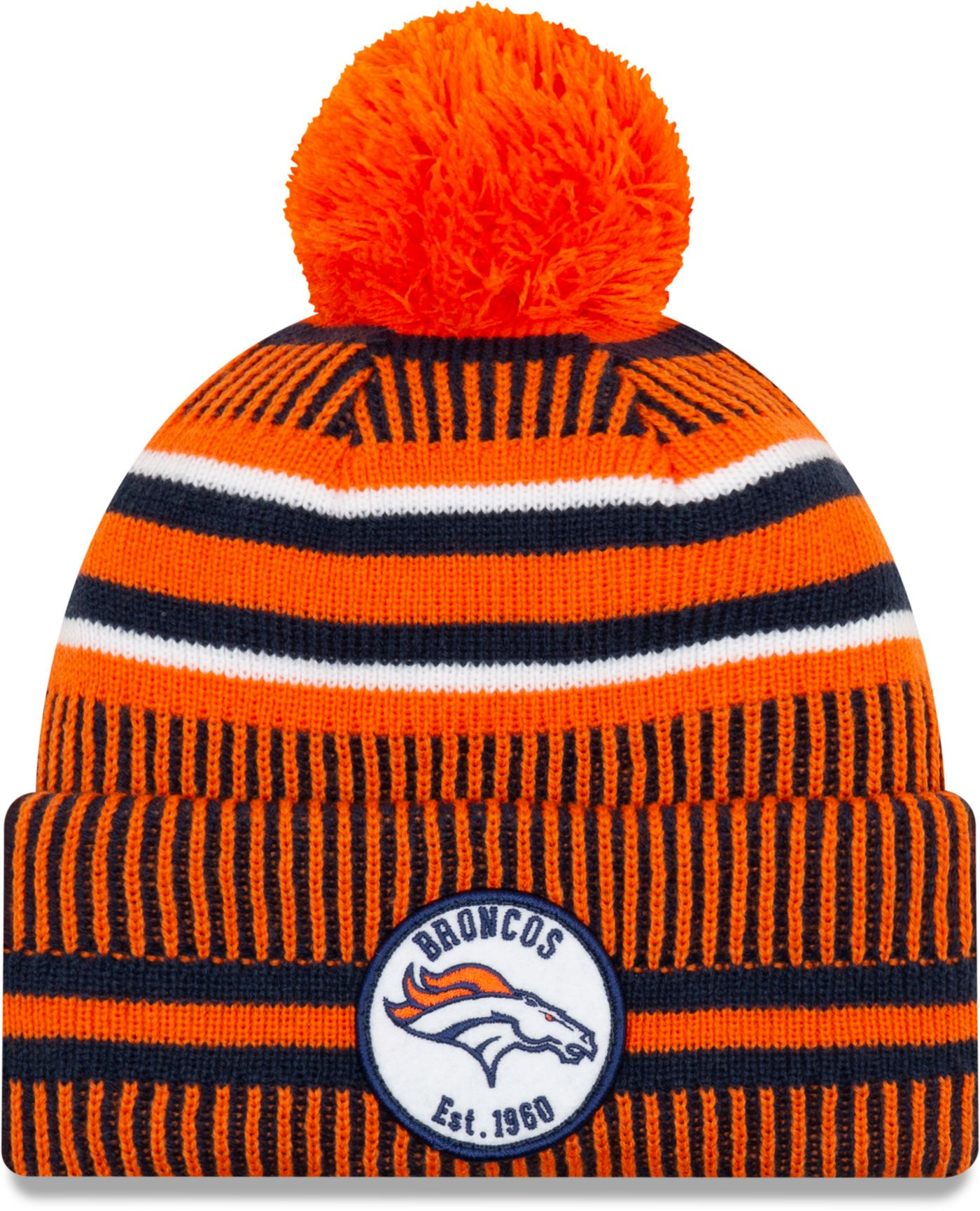 New Era Men's Denver Broncos Sideline Home Sport Pom Knit
