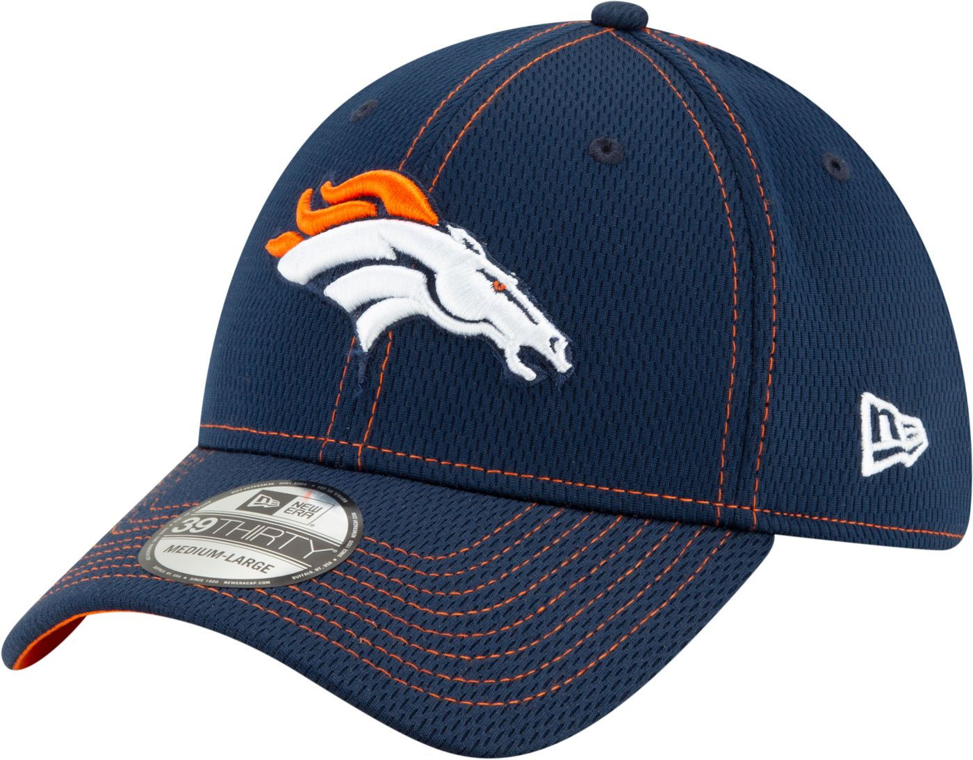 New Era Men's Denver Broncos Sideline Road 39Thirty Stretch Fit Hat
