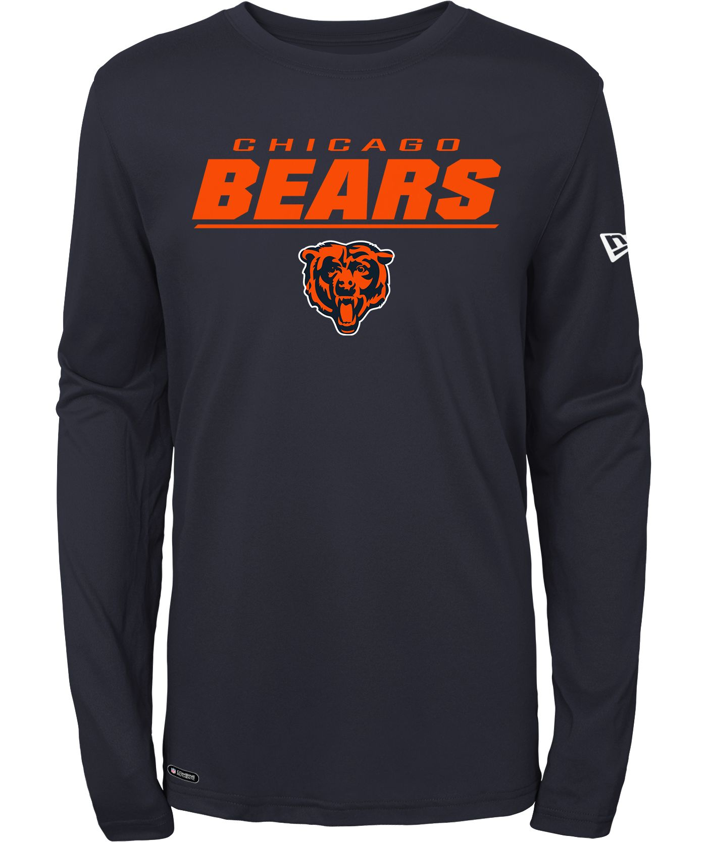 New Era Men's Chicago Bears Combine Navy Polyester Long Sleeve Shirt