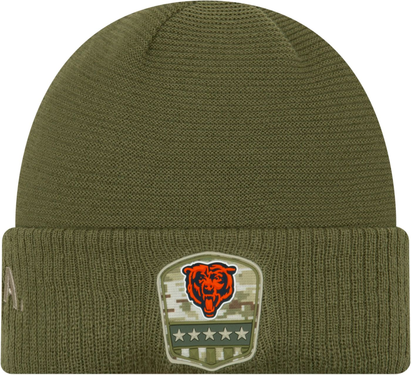 New Era Men's Salute to Service Chicago Bears Olive Cuffed Knit