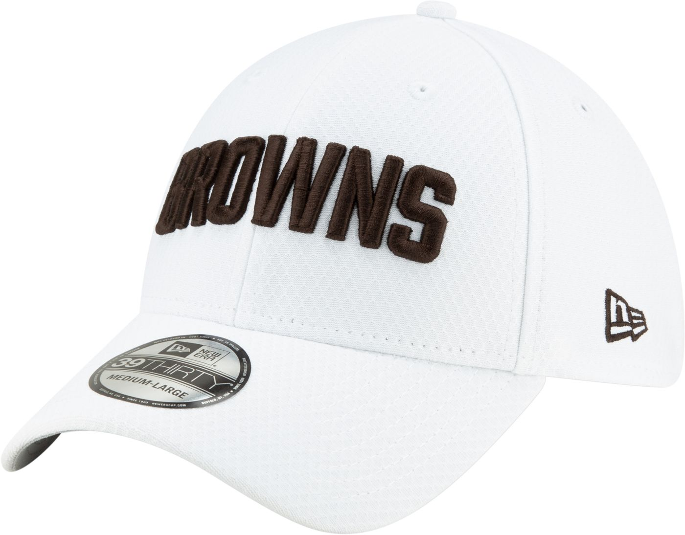 New Era Men's Cleveland Browns Sideline 100th 39Thirty Stretch Fit White Hat